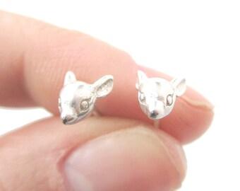 Baby Deer Doe Shaped Animal Face Stud Earrings in Silver | Handmade Animal Jewelry