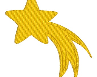 BUY 2, GET 1 FREE - Filled Shooting Star Machine Embroidery Design - 4x4, 5x7, 6x10