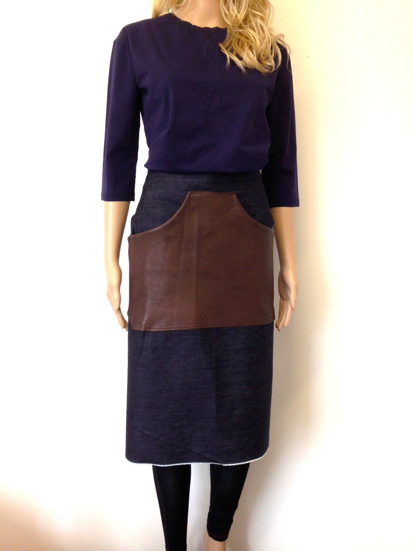 Leather Apron Leather Barista Denim Apron by CardamomClothing