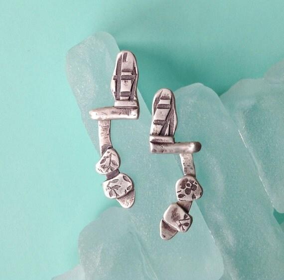 Modern Silver Earrings, Sterling Silver Earrings,  Long Post Earrings, Rustic Earrings, Oxidized Silver Earrings, Textured Earrings,Artisan