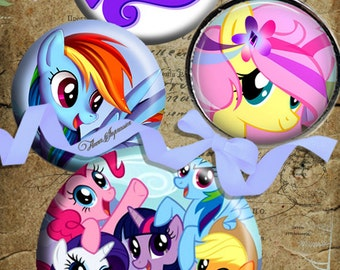 My little pony 4s - 1.5  inch round images PrintableDownload Digital Collage Sheet steampunk diy jewelry pendant sticker