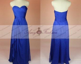 Bridesmaid Dress Royal Blue,Sweetheart Bridesmid Dress Chiffon,Strapless Wedding Party Dress,Chiffon Bridesmaid Dress,Prom Dresses Under 100