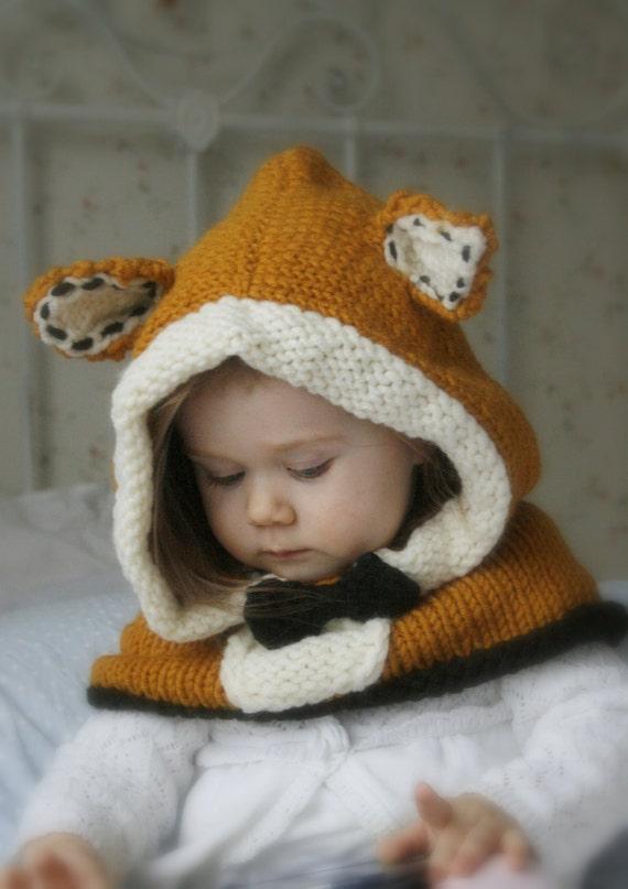 KNITTING PATTERN fox hood Roxy knitted flat (baby, toddler ...