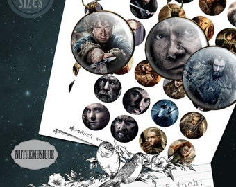 HOBBIT  Digital collage sheet 1; 1,25; 1,5 and 2 inch,craft supplies,printable,bottlecap,pendants,magnets,circles,party stickers,jewelry