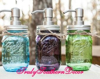 Pint mason jar soap dispenser. Vintage Blue. Vintage Green. Vintage Purple.