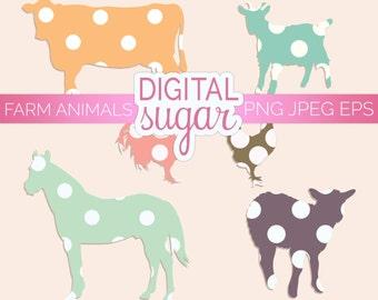Farm Animal Clipart, Baby Animal Clip Art, Animal Vector Graphics, Baby Shower Invitation Clipart, Polka Dots