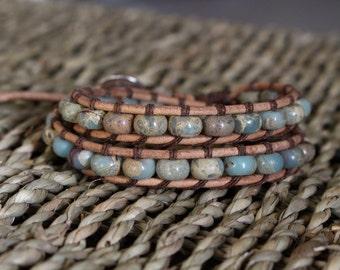 Chan Luu Leather Wrap Bracelet - Impression Jasper