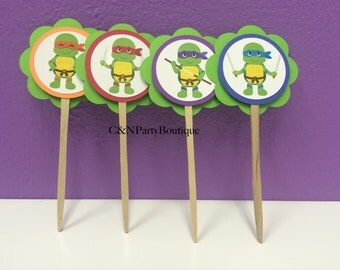 Ninja Turtle Themed Cupcake Toppers