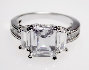 emerald cut engagement ring etsy uk