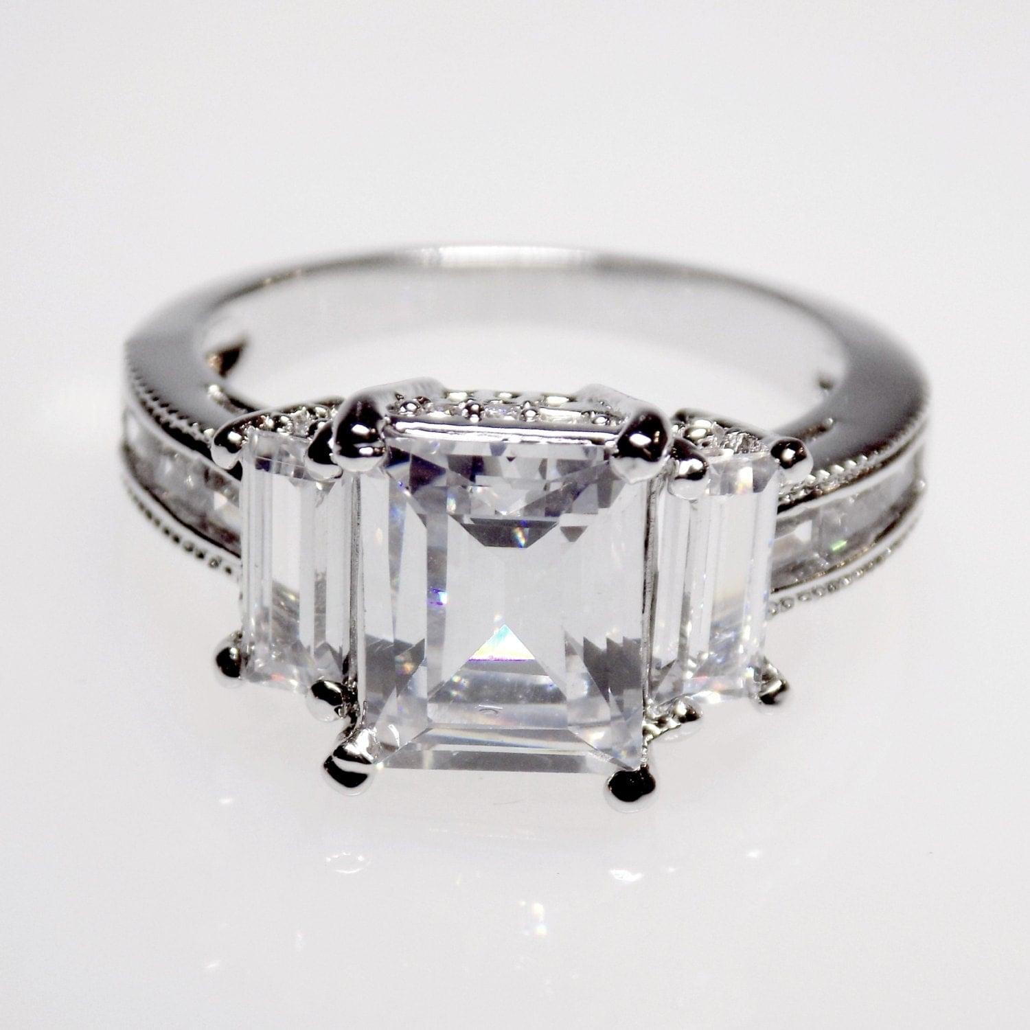 5 1 carat emerald cut engagement ring wedding ring anniversary