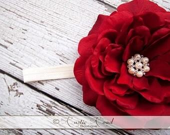 Red Rose Headband with Pearl/Rhinestone Center - Flower Girl Headband, Baby Headband, Bridal Headdress, Flowergirl Headpiece, Photo Prop