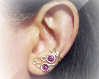 Silver Ear Cuff  Silver Ear Wrap  Purple