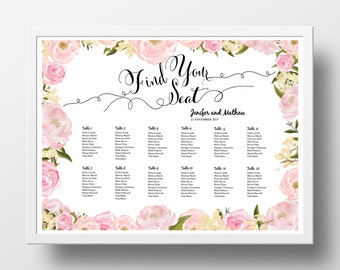 Wedding Seating Chart Poster Template, Wedding Table Plan  | Printable Instant Download | DIY | 18x24 and 24x36  Powerpoint | Floral pink