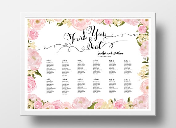 Wedding Seating Chart Poster Template Wedding Table Plan – Free Seating Chart Template for Wedding Reception