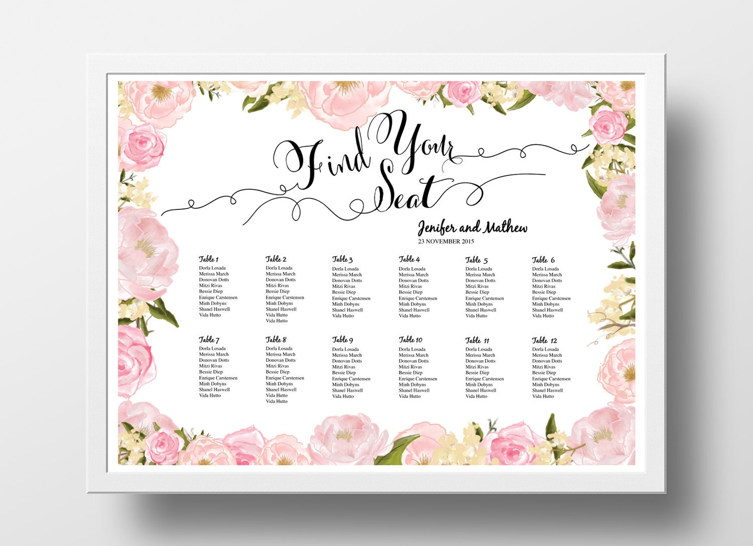 Wedding Seating Chart Poster Template Wedding Table by xoBSpoke