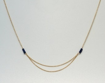 Dainty Lapis Necklace. Bridal necklace. Lapis Necklace. Gold Jewelry. December Birthstone. Bridal Jewelry. Minimalist Necklace. Bridesmaid