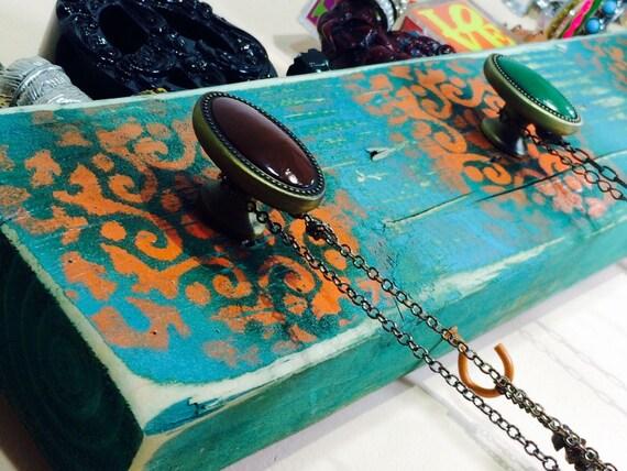 Necklace holder /jewelry organizer /reclaimed wood wall hanging decor/boho rack stenciled Morrocon mandalas 5 knobs 4 orange hooks