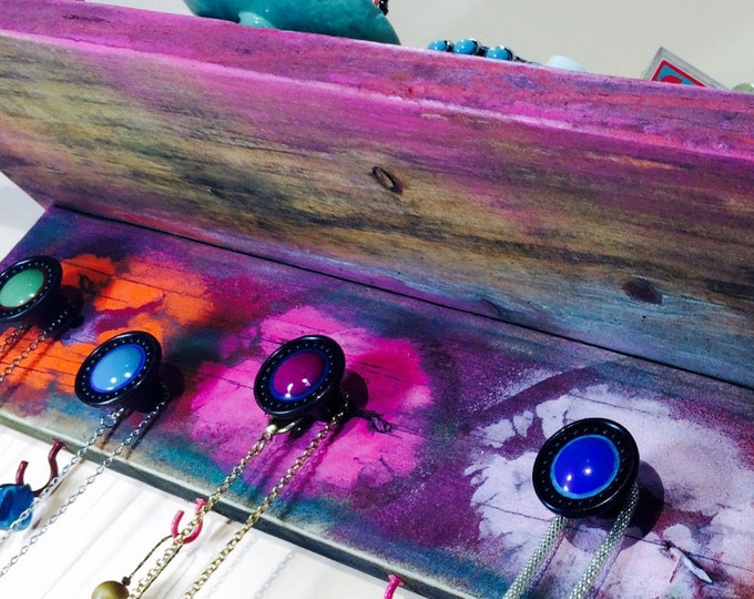 Pallet wood floating wall shelf /reclaimed wood shelving pink accent shelves jewelry holder colorful kissy lips 8 hooks 6 hand-painted knobs