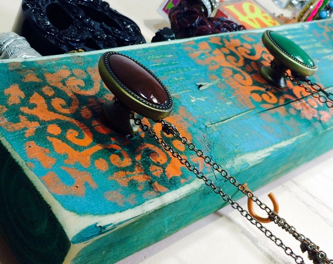 Necklace holder /jewelry organizer /reclaimed wood wall hanging decor/boho rack stenciled Morrocon mandalas 5 knobs 4 orange hooks