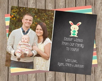 Happy Easter Photo Card | Easter Wishes | Easter Bunny | Spring Stripes (5x7)