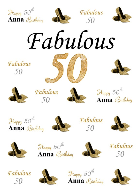 50th Birthday Step And Repeat Backdrop Photo