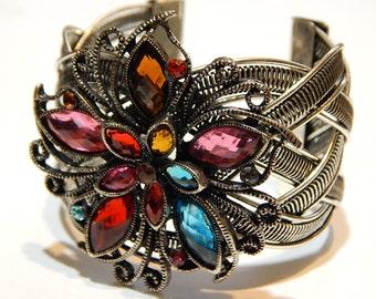 Vintage Cuff Bracelet - Rhinestone Flower With Interweave Cuff