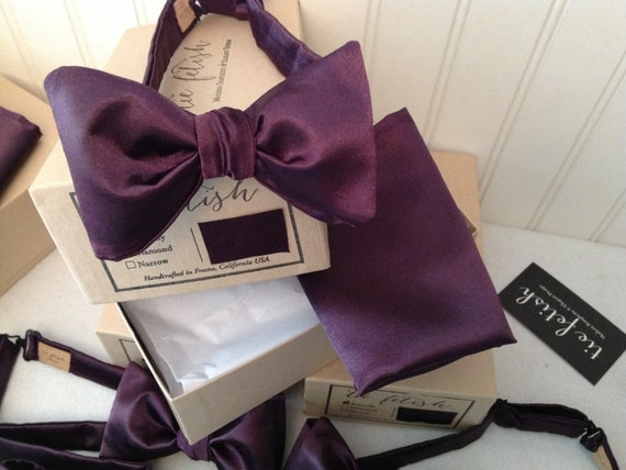 Eggplant purple satin freestyle or pre tied bow tie