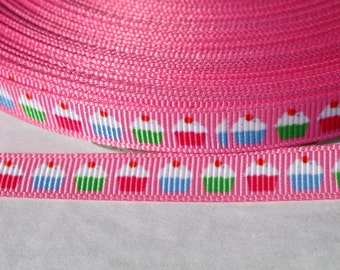 3/8 Cupcake Ribbon Grosgrain Ribbon by the Yard for Hairbows, Scrapbooking, and More!!