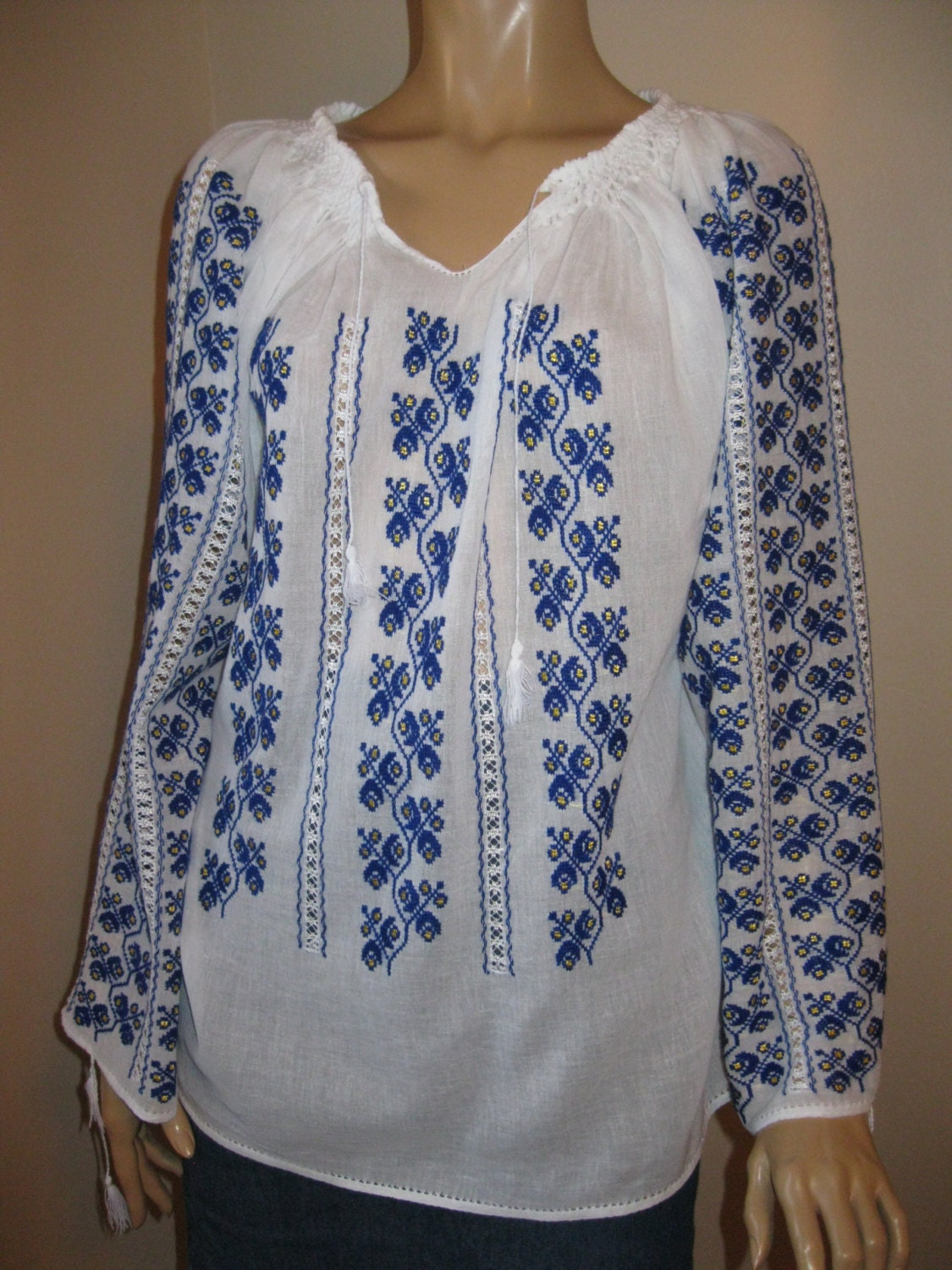 Hand embroidered romanian blouse dark blue flowers size m l