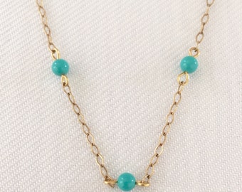 Delicate Vintage Three Turquoise Bead Gold Tone Necklace - Wedding, Junior Bridesmaid, Flower Girl