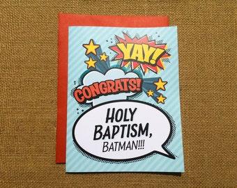 Holy Baptism, Batman! Greeting Card