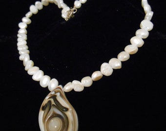 """17"""" Freshwater Pearl & Agate Necklace with Sterling Silver Clasp"""