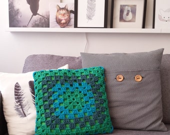 Cheerful green blue crochet granny Cushion cover (30x30cm) with green cotton inner cover