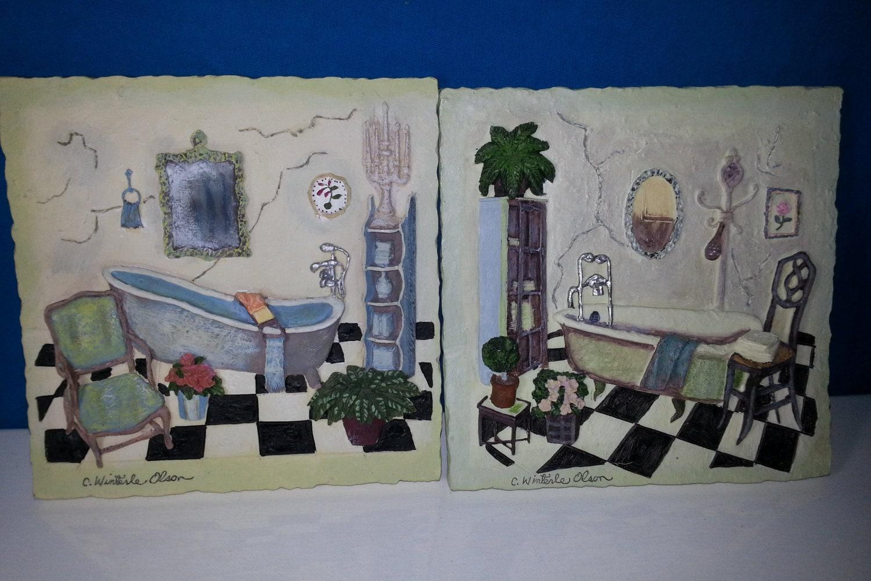 Rare Signed C Winterle Olson Resin Bathroom 3d Art