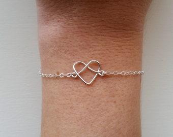 Love Knot Bracelet, Heart Bracelet, Tie The Knot Bracelet, Bridesmaid Gifts, Infinity Loop, Friendship Bracelet, Wedding Jewelry, Eternity