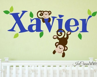 Monkey Decal Kids Wall Decor Safari Wall Decal Animal Jungle Theme Vinyl  Decal Part 55