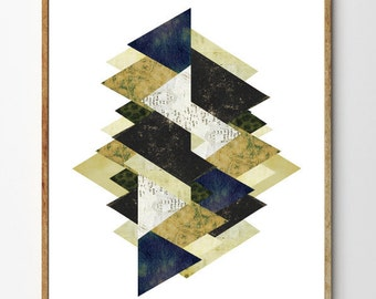Assemblage III - Geometric Art, Scandinavian Print, Mixed Media Collage Art, Vintage, Geometry, Home Decor, Abstract Art