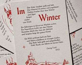 Postcard «In winter» (Trakl), letterpress, lead-type on grey cardboard