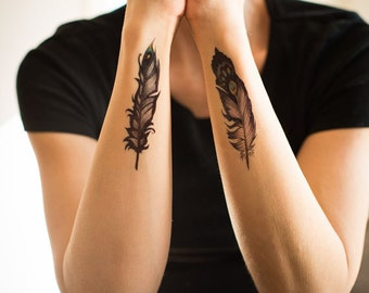 Petite Feather Temporary Tattoo by Kate Prescesky