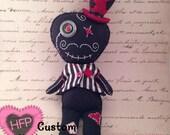 Rag Doll, Carnival Voodoo Doll, Boy Doll, Primitive Doll, Valentines Voodoo Doll, Felt Doll Plush, Creepy Doll, Gothic Doll