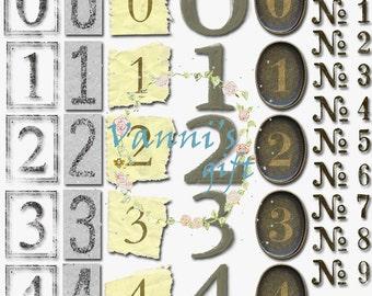 60 Vintage Number Digital Download Scrapbooking Clip Art c48