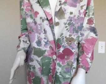 Vintage 1980's Floral Blazer * Lightweight Cotton . BEDFORD FAIR . Size M Oversized . Spring . Summer . Casual . Excellent Vintage Condition