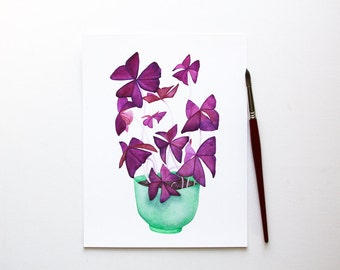 Purple Oxalis Plant Botanical Watercolor Fine Art Print  / Mint Bowl / Houseplant / Colorful Leaves / Clover / 4x6 5x7 8x10 / Gifts Under 30