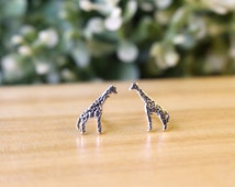 Tiny Giraffe stud earrings, Sterling Silver Giraffe Ear Studs, Giraffe Silver earrings, Giraffe Jewelry, Animal Earring, Kid Jewelry