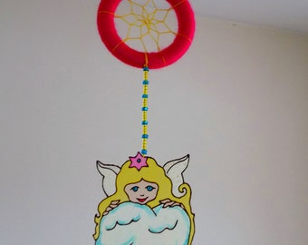 10% OFF - Baby Angel Dreamcatcher - Nursery Mobile - Glass Painted Angel Dream Catcher - Hanging Baby Room Decoration - Suncatcher Mobile