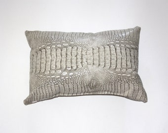Faux Croc Decorative Pillow