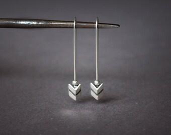 Chevron Long Earring Dangle Sterling Silver Earrings, Trendy Earring Chevron Faceted, Geometric Jewelry, Hipster Dainty Minimalist Earring