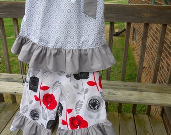 Girls Ruffled Capri Set, Floral, Quatrefoil and Mini-Dot Fabric Used, Red, Black and Gray Floral for Capris, Quatrefoil and Mini-Dot Ruffles