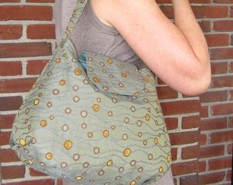 """Hobo Bag in Modern """"Seascape"""" Fabric in Sage and Bronze"""