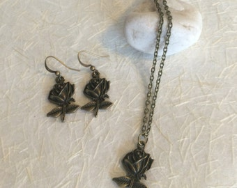Matching Bronze Rose Earrings and Necklace Set